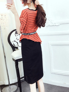Orange and Black Stripe Knitted Seem-Two Stripe Contrast Linking  Knee Length Dress for Casual Office