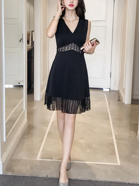 Black V Neck Slim A-Line Linking See-Through Plus Size Knee Length Dress for Casual Party Evening