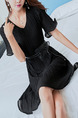 Black Chiffon Slim A-Line Pleated Above Knee V Neck Dress for Casual Office Party