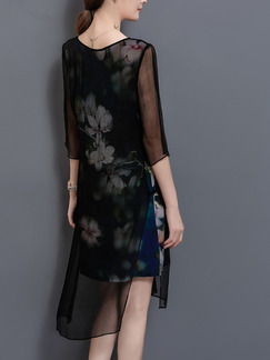 Black Chiffon Plus Size Loose See-Through Printed Furcal Knee Length Floral Dress for Casual Party Evening