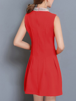 Red Slim Stand Collar Tassels Above Knee Plus Size Dress for Casual Party Evening