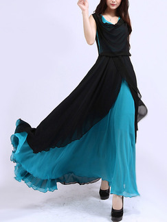 Black and Blue Green Chiffon Slim Full Skirt Plus Size Linking Contrast Asymmetrical Hem Cowl Neck Maxi Dress for Semi Formal Ball