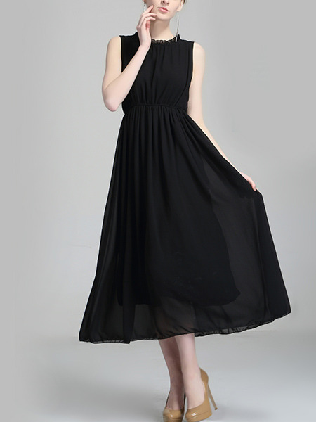 Black Chiffon Plus Size Full Skirt Ruffled Open Back Band  Adjustable Waist Midi Dress for Casual