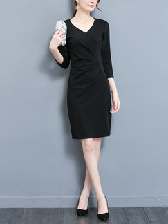 Black Slim Plus Size V Neck Pleated Sheath Above Knee Dress for Casual Office Party Evening