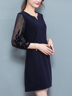 Blue and Black See-Through V Neck Slim Plus Size Linking Chiffon Twist Pattern Above Knee Dress for Casual Office Evening