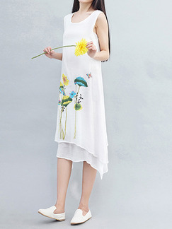 White Colorful Literary Plus Size Loose Located Printing Asymmetrical Hem Midi Floral Dress for Casual