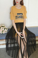 Yellow and Black Two-Piece Off-Shoulder Knitted Mesh Located Printing Contrast Plus Size Dress for Casual Party
