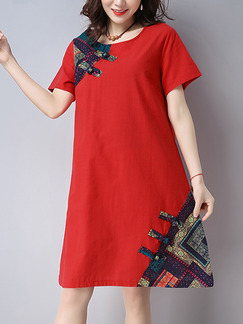 Red Chinese Plus Size Linking Located Printing Chinese Button Knee Length Dress for Casual  Party