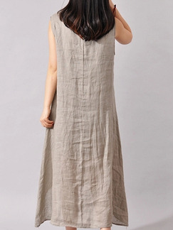 Beige Flax Loose Plus Size Located Printing Asymmetrical Hem Maxi Dress for Casual