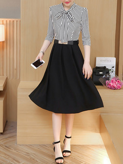 Black and White Stripe Slim Seem-Two Stripe Contrast Linking Band Belt Plus Size Knee Length Dress for Casual Office