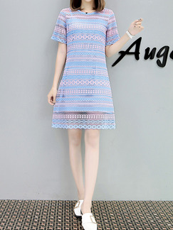 Pink and Blue Plus Size Slim Two-Piece Round Neck Lace Shift Above Knee Dress for Casual Party