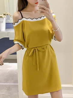 Yellow Loose Off-Shoulder Contrast Linking Band Belt Slip Above Knee Dress for Casual Party
