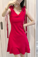 Red Slim A-Line V Neck Band Belt Ruffled Above Knee Plus Size Dress for Casual Party Nightclub
