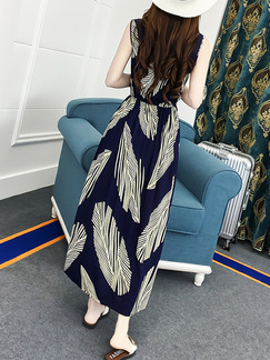 Blue and Beige Plus Size Slim A-Line Round Neck Printed Adjustable Waist Maxi Dress for Casual Beach