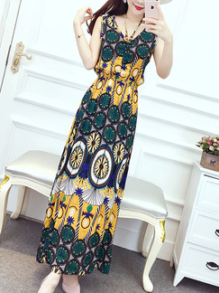 Colorful Slim A-Line Off-Shoulder Printed Adjustable Waist Maxi Plus Size Dress for Casual Beach