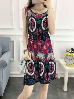 Colorful Plus Size Slim Round Neck A-Line Printed Drawstring Above Knee Dress for Casual Party