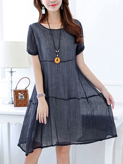 Blue Plus Size Literary Loose Round Neck Linking Pleated Knee Length Dress for Casual Party Office Evening
