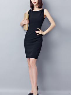 Black Slim Plus Size Boat Neck Adjustable Waist Ruffled Sheath Above Knee Dress for Casual Office Evening