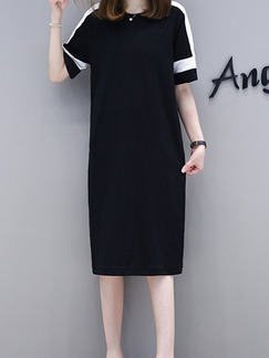 Black Plus Size Loose Contrast Linking Round Neck Shift Knee Length Dress for Casual