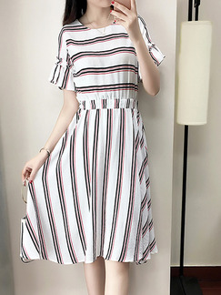 White Stripe Plus Size Slim A-Line Round Neck Stripe Flare Sleeve Knee Length Dress for Casual Party
