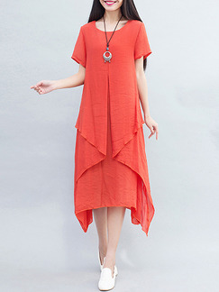 Red Orange Literary Plus Size Loose Round Neck Two-Layered Midi Dress for Casual