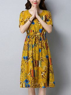 Yellow Colorful Literary Plus Size Loose Round Neck Printed Knee Length Dress for Casual Party