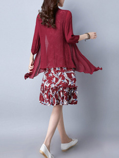 Red Plus Size Literary Two-Piece Round Neck Adjustable Waist Printed Pleated Knee Length Dress for Casual Party Office