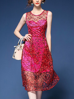 Pink Lace Printed Slim A-Line See-Through Midi Plus Size Cute Dress for Casual Party Evening