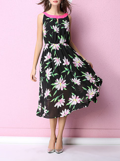 Black and Pink Chiffon A-Line Printed Contrast Linking Adjustable Waist Floral Midi Plus Size Dress for Casual Beach Party