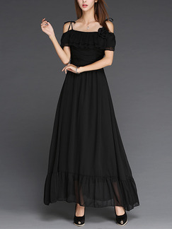 Black Chiffon Full Skirt Off-Shoulder Ruffled Band Belt Plus Size Maxi Dress for Cocktail Prom Ball Semi Formal