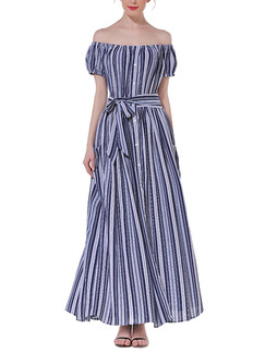 Blue and White Stripe Full Skirt Off-Shoulder Buckled Plus Size Dress for Casual Evening Semi Formal
