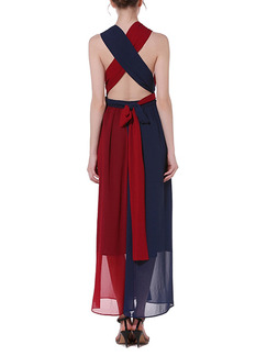 Blue and Red Chiffon V Neck Open Back Contrast Linking Band Belt Full Skirt Plus Size Dress for Party Evening Semi Formal Cocktail