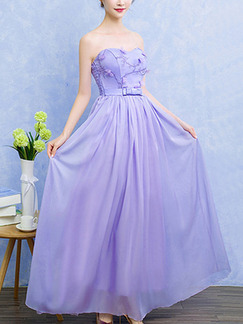 Purple Chiffon Off-Shoulder Printed Full Skirt Dress for Bridesmaid Prom