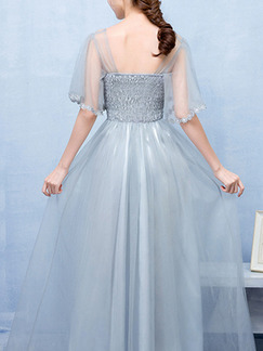 Grey Mesh Open Back Full Skirt Laced Dress for Bridesmaid Prom
