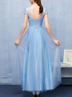 Blue Lace Linking Mesh Butterfly Knot Open Back Dress for Bridesmaid Prom