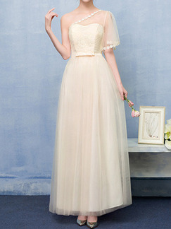 Champagne Full Skirt Slim One shoulder Lace Linking Mesh Butterfly Knot Dress for Bridesmaid Prom