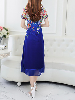Blue Colorful Chinese Chiffon Located Printing Furcal Stand Collar Chinese Button Midi Plus Size Dress for Casual Party Evening