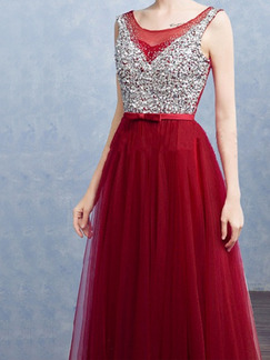 Red and Silver Mesh Open Back Full Skirt Rhinestone Contrast Linking Butterfly Knot Plus Size Dress for Ball Prom Bridesmaid Cocktail