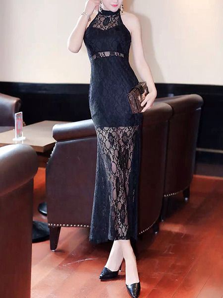 Black Lace Stand Collar Off Shoulder Fishtail See Through Halter