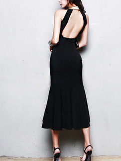 Black Over-Hip Stand Collar Off-Shoulder Open Back Asymmetrical Hem Contrast Linking Midi Dress for Cocktail Evening Prom
