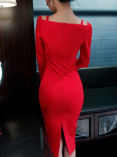 Red V Neck Over-Hip Furcal Bodycon Long Sleeve Dress for Evening Office Cocktail Semi Formal