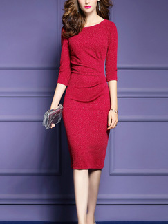 Red Shiner V Neck Over-Hip Pleated Plus Size Knee Length Dress for Office Party Evening Semi Formal