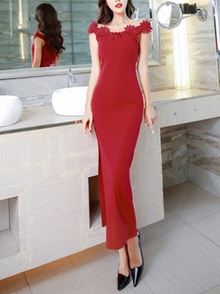 Red Slim Over-Hip Furcal Laced Maxi Off Shoulder Dress for Prom Cocktail Evening