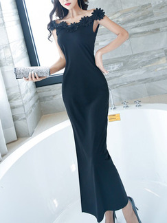 Black Slim Over-Hip Furcal Laced Maxi Off Shoulder Dress for Prom Cocktail Evening