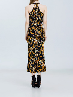 Black and Yellow Knitted Slim Off-Shoulder Over-Hip See-Through Linking Printed Dress for Cocktail Prom Semi Formal Evening