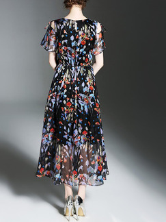 Blue Colorful Chiffon Full Skirt Off-Shoulder Adjustable Waist Printed Plus Size Midi Dress for Casual Party