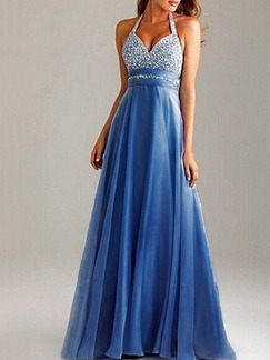 Blue and Silver Chiffon V Neck Open Back Contrast Linking  Maxi Plus Size Dress for Prom Cocktail Ball Evening