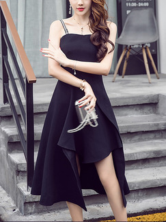 Black Slim A-Line Off-Shoulder Asymmetrical Hem Open Back Plus Size Midi Dress for Cocktail Party Evening Semi Formal