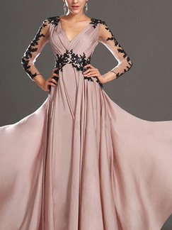 Pink and Black Full Skirt Slim V Neck Open Back Contrast Linking Lace Maxi Plus Size Dress for Cocktail Prom Ball