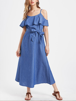 Blue Denim Off-Shoulder Loose Ruffled Band Belt Plus Size Slip Maxi Dress for Casual